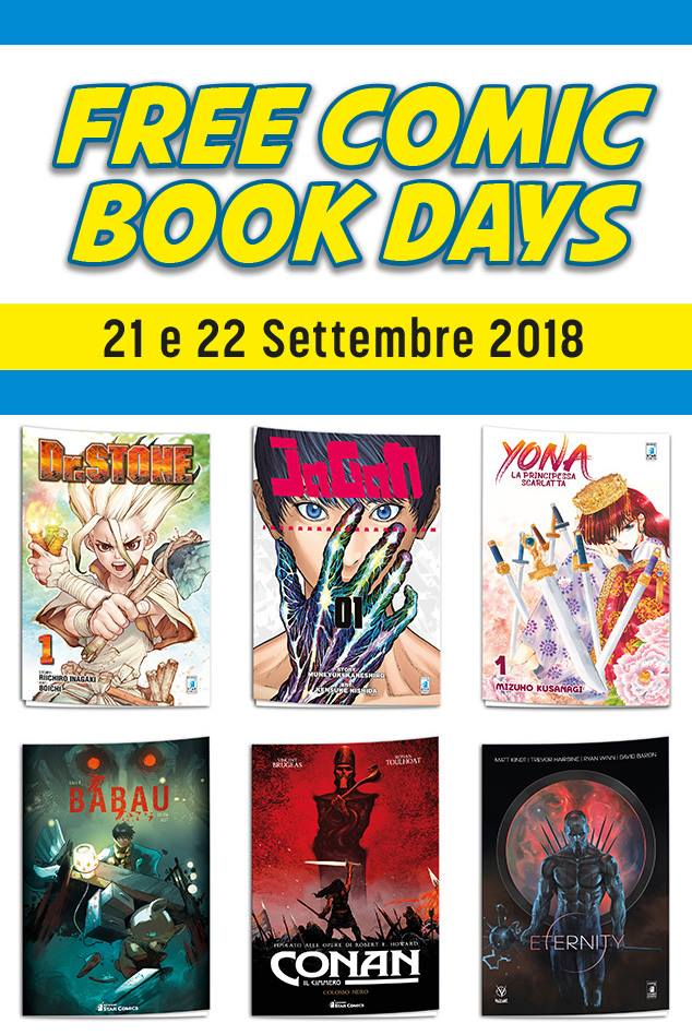 Free Comic Book days 21 e 22 settembre 2018